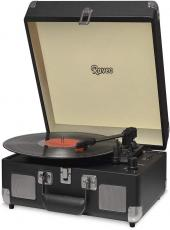 Vitrola Raveo Sonetto Com Alca Toca-discos/radio/usb/bt Chrome Black (preto) - 90-08746