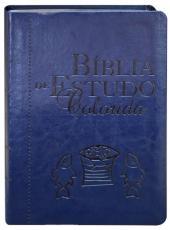 Biblia De Estudo Colorida - Letra Grande - Capa Azul